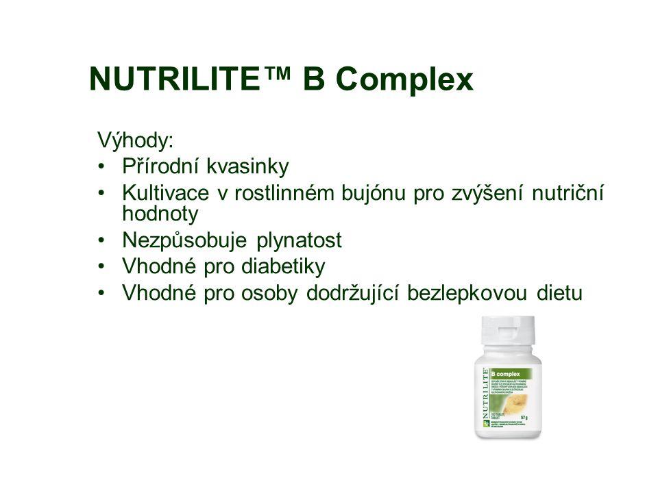 NUTRILITE™ B Complex Výhody: Přírodní kvasinky Kultivace v rostlinném bujónu pro zvýšení nutriční hodnoty Nezpůsobuje plynatost Vhodné pro diabetiky Vhodné pro osoby dodržující bezlepkovou dietu