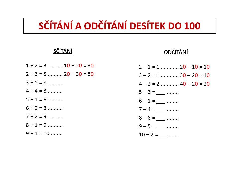 SČÍTÁNÍ A ODČÍTÁNÍ DESÍTEK DO 100 SČÍTÁNÍ 1 + 2 = 3..........