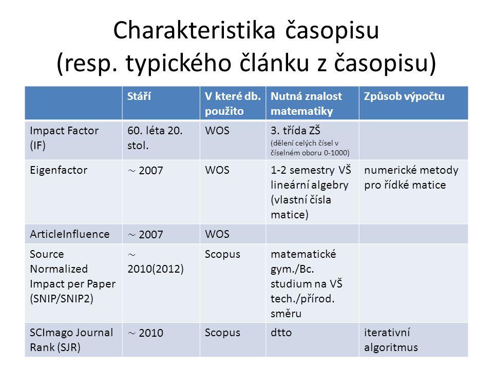 Charakteristika časopisu (resp.typického článku z časopisu) StáříV které db.