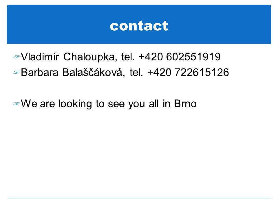 contact  Vladimír Chaloupka, tel. +420 602551919  Barbara Balaščáková, tel.