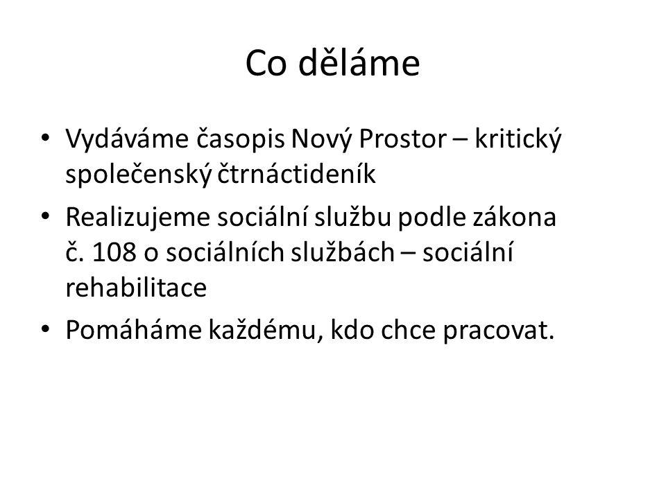 Co děláme Vydáváme časopis Nový Prostor – kritický společenský čtrnáctideník Realizujeme sociální službu podle zákona č.