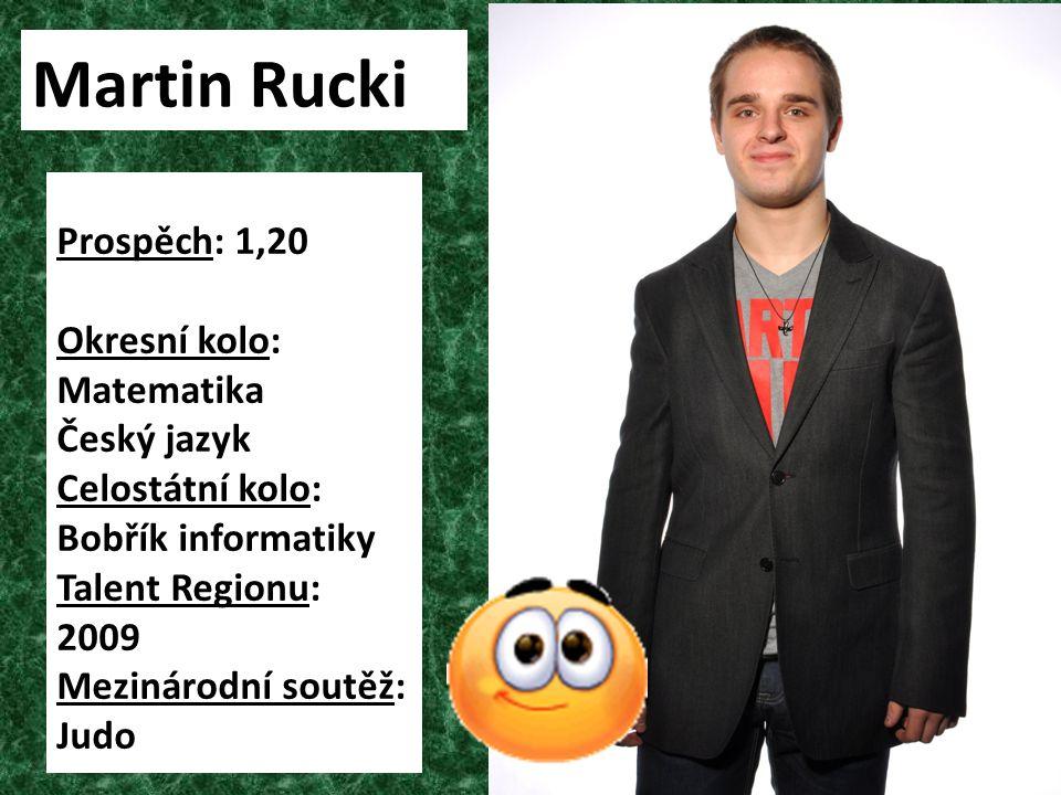 Prospěch: 1,20 Okresní kolo: Matematika Český jazyk Celostátní kolo: Bobřík informatiky Talent Regionu: 2009 Mezinárodní soutěž: Judo Martin Rucki