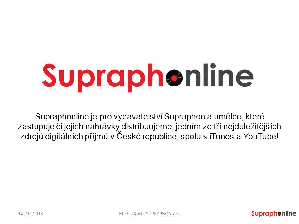 Supraphonline je pro vydavatelství Supraphon a umělce, které zastupuje či jejich nahrávky distribuujeme, jedním ze tří nejdůležitějších zdrojů digitál