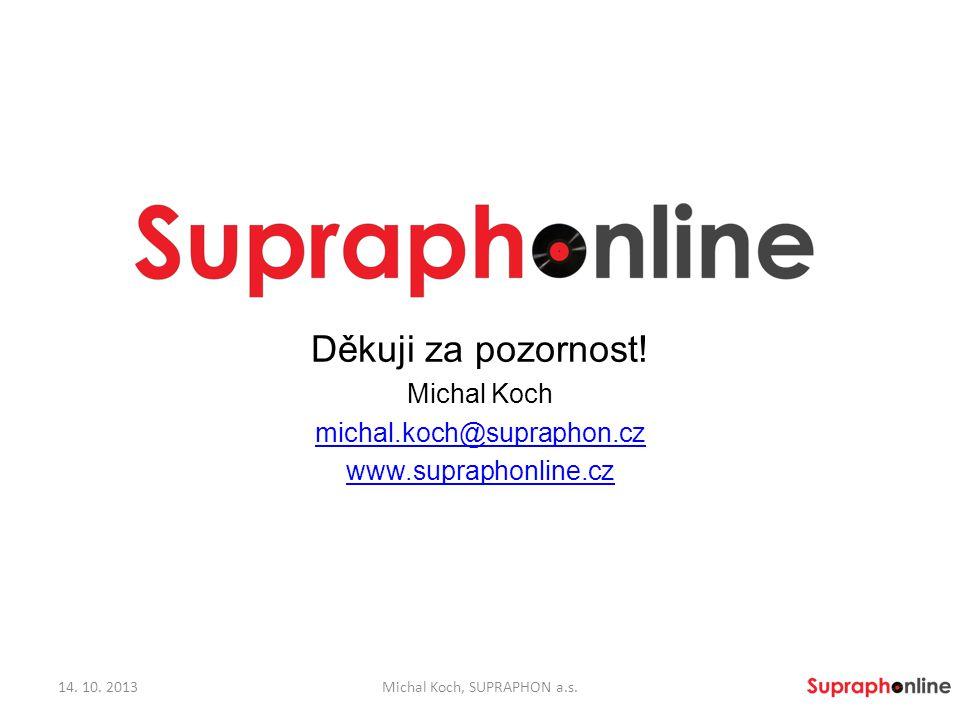 Děkuji za pozornost! Michal Koch michal.koch@supraphon.cz www.supraphonline.cz 14. 10. 2013Michal Koch, SUPRAPHON a.s.