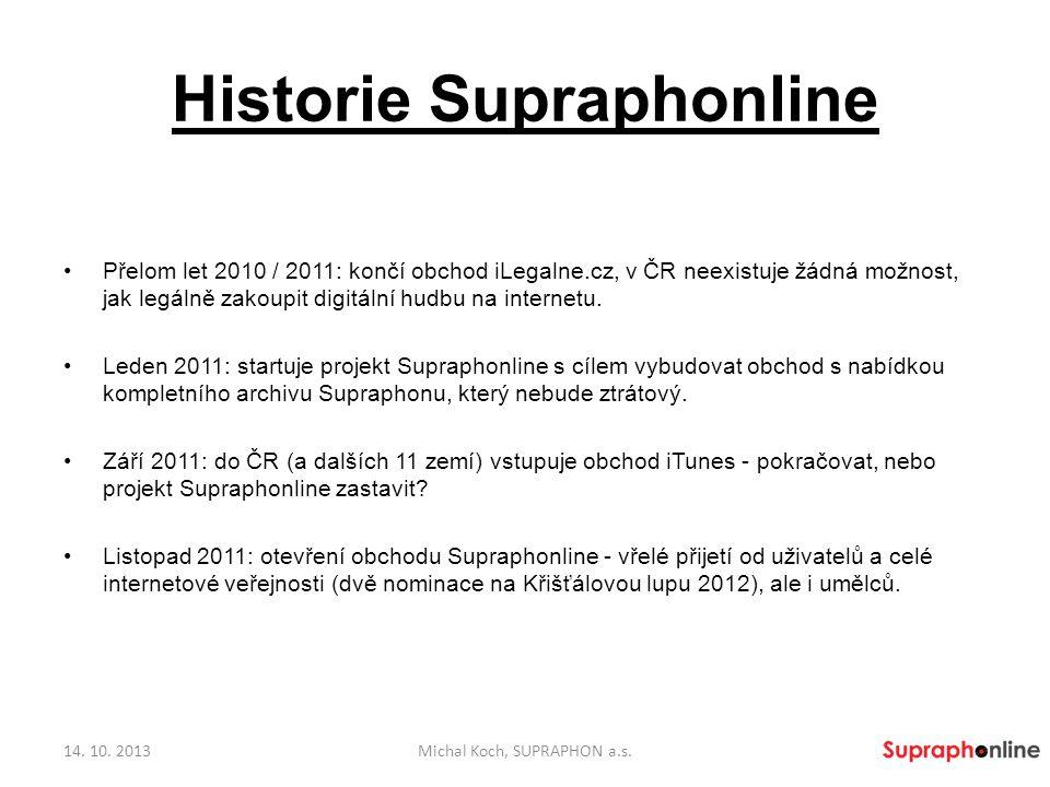 Historie Supraphonline Zájem menších vydavatelství a umělců nevydávajících u Supraphonu o umístění nahrávek v obchodě Supraphonline, postupné zařazování do prodeje (např.