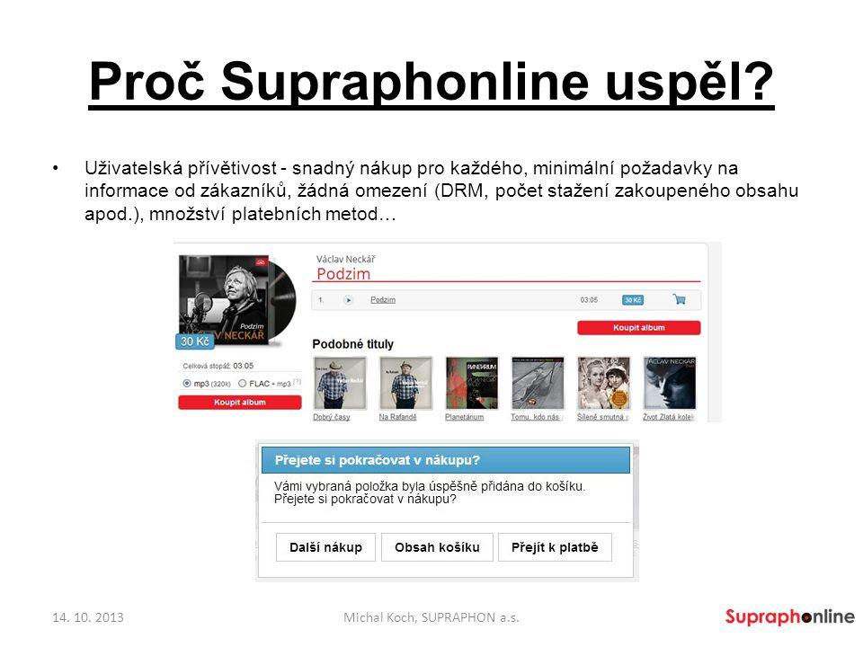 Proč Supraphonline uspěl? Uživatelská přívětivost - snadný nákup pro každého, minimální požadavky na informace od zákazníků, žádná omezení (DRM, počet
