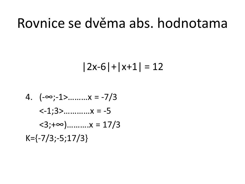 Rovnice se dvěma abs. hodnotama |2x-6|+|x+1| = 12 4.(-∞;-1>………x = -7/3 …………x = -5 <3;+∞)……….x = 17/3 K={-7/3;-5;17/3}