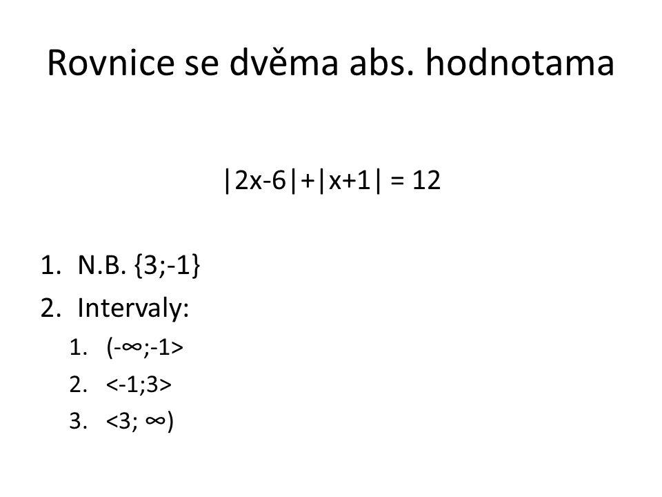 Rovnice se dvěma abs. hodnotama |2x-6|+|x+1| = 12 1.N.B. {3;-1} 2.Intervaly: 1.(-∞;-1> 2. 3.<3; ∞)