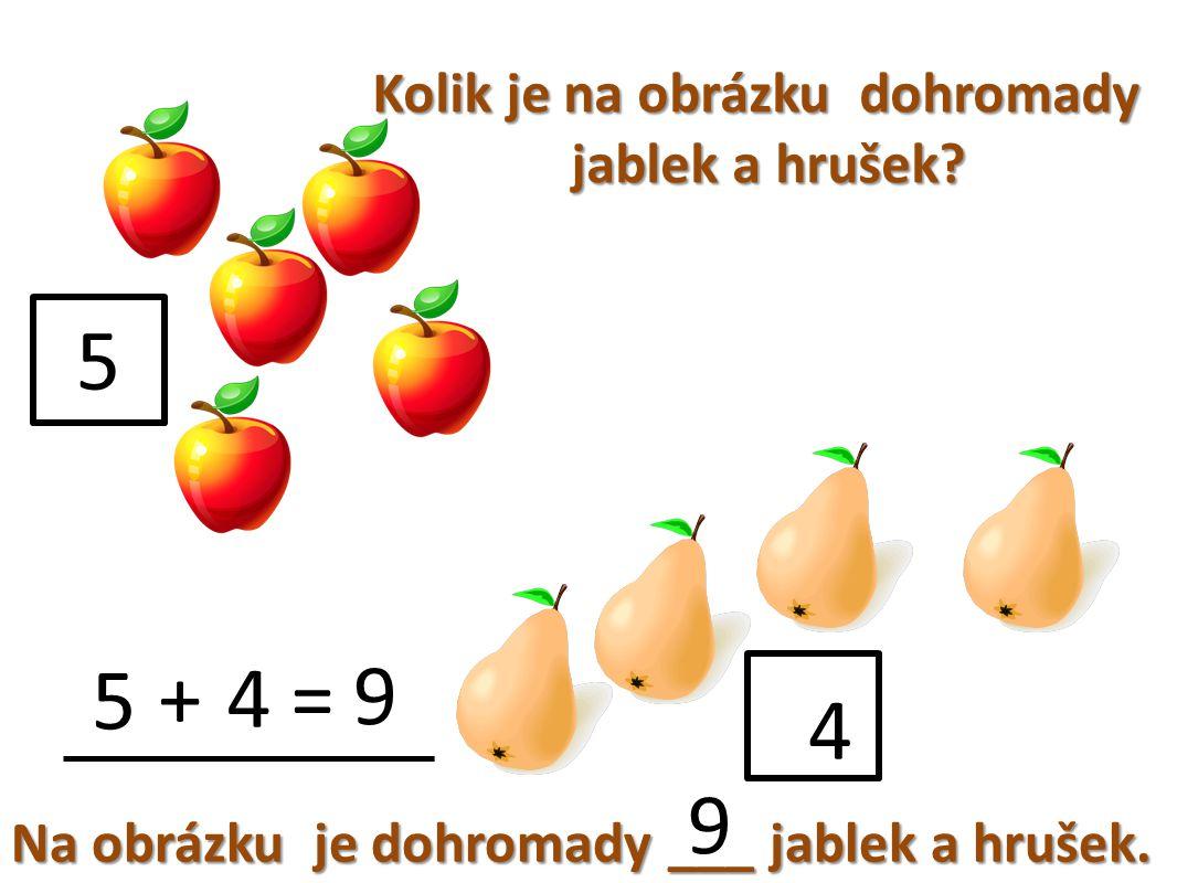 Kolik je na obrázku dohromady jablek a hrušek. Na obrázku je dohromady ___ jablek a hrušek.