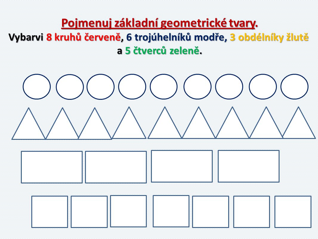 Pojmenuj základní geometrické tvary.