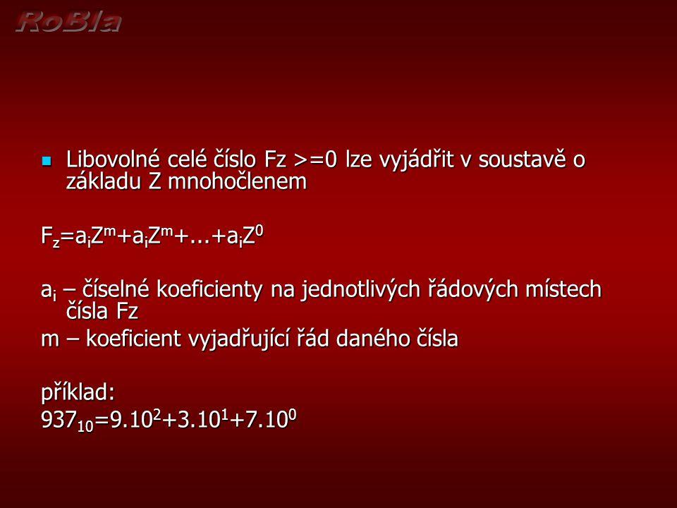 Libovolné celé číslo Fz >=0 lze vyjádřit v soustavě o základu Z mnohočlenem Libovolné celé číslo Fz >=0 lze vyjádřit v soustavě o základu Z mnohočlene