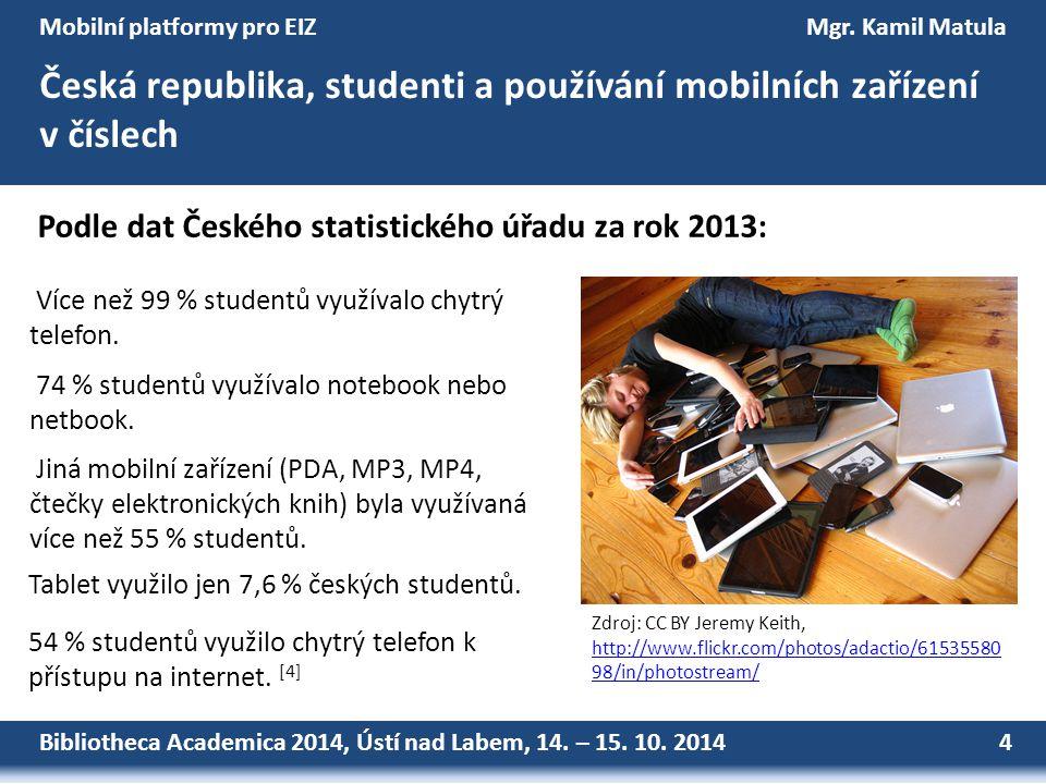 Bibliotheca Academica 2014, Ústí nad Labem, 14. – 15. 10. 2014 4 Mobilní platformy pro EIZMgr. Kamil Matula Česká republika, studenti a používání mobi