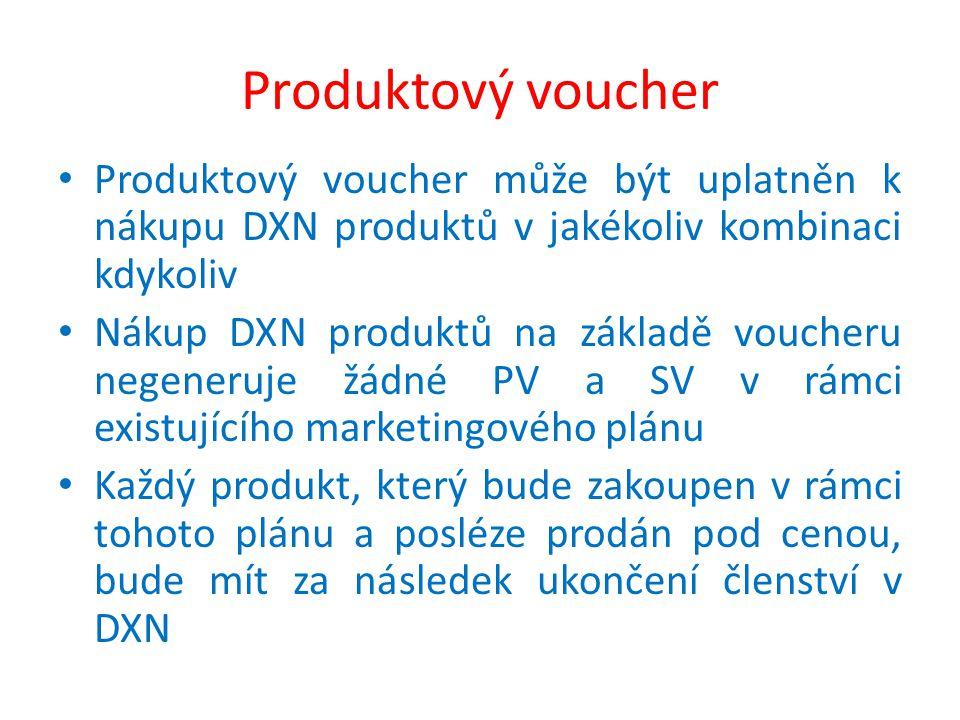 Produktový voucher Produktový voucher může být uplatněn k nákupu DXN produktů v jakékoliv kombinaci kdykoliv Nákup DXN produktů na základě voucheru negeneruje žádné PV a SV v rámci existujícího marketingového plánu Každý produkt, který bude zakoupen v rámci tohoto plánu a posléze prodán pod cenou, bude mít za následek ukončení členství v DXN