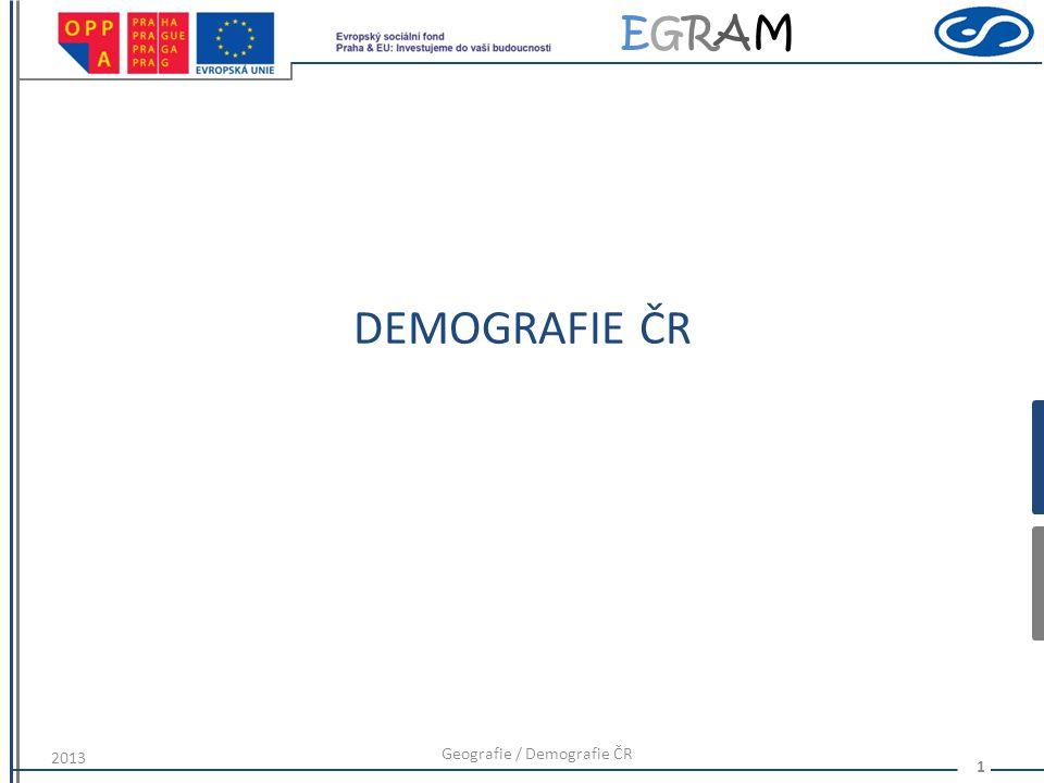 EGRAMEGRAM DEMOGRAFIE ČR 2013 Geografie / Demografie ČR 1