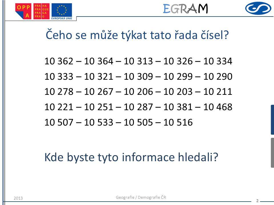 EGRAMEGRAM Čeho se může týkat tato řada čísel.