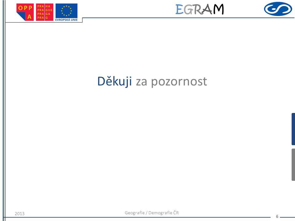 EGRAMEGRAM 6 Děkuji za pozornost Geografie / Demografie ČR 2013