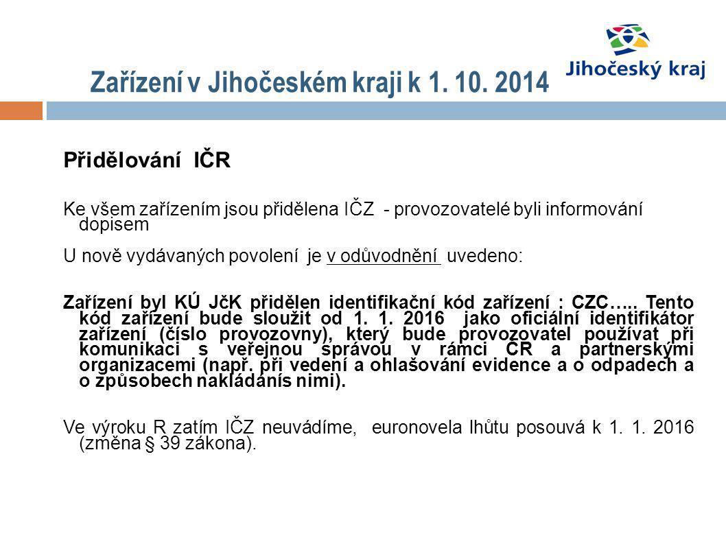 Zařízení v Jihočeském kraji k 1. 10. 2014 Přidělování IČR Ke všem zařízením jsou přidělena IČZ - provozovatelé byli informování dopisem U nově vydávan