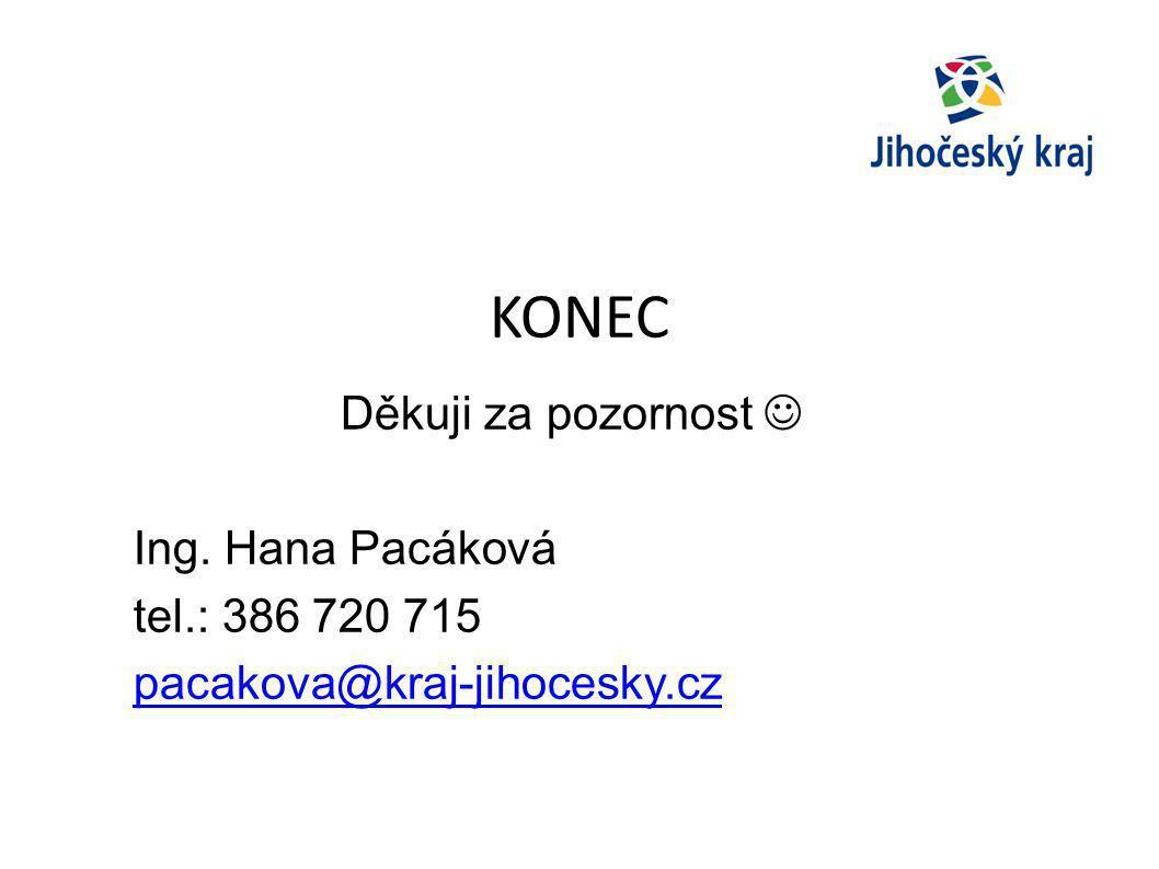 KONEC Děkuji za pozornost Ing. Hana Pacáková tel.: 386 720 715 pacakova@kraj-jihocesky.cz