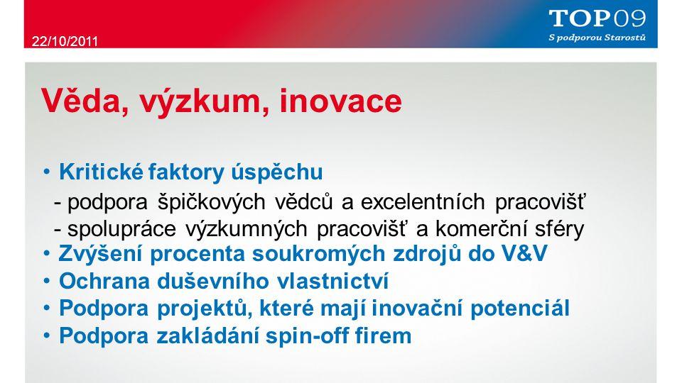 Věda, výzkum, inovace ・ Kritické faktory úspěchu - podpora špičkových vědců a excelentních pracovišť - spolupráce výzkumných pracovišť a komerční sféry ・ Zvýšení procenta soukromých zdrojů do V&V ・ Ochrana duševního vlastnictví ・ Podpora projektů, které mají inovační potenciál ・ Podpora zakládání spin-off firem 22/10/2011