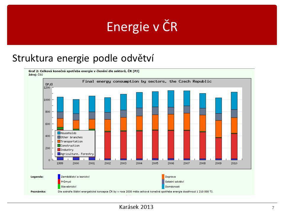 Karásek 2013 8 Definice energetické účinnosti Energetická účinnost ekonomiky nebo zařízení podle (Global Carbon Project, 2008) Rok 1990 = 100% F … Index spotřeby paliv P … Index produkce Energetická účinnost