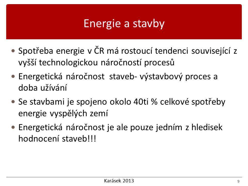 Karásek 2013 Spotřeba energie v ČR má rostoucí tendenci související z vyšší technologickou náročností procesů Energetická náročnost staveb- výstavbový proces a doba užívání Se stavbami je spojeno okolo 40ti % celkové spotřeby energie vyspělých zemí Energetická náročnost je ale pouze jedním z hledisek hodnocení staveb!!.
