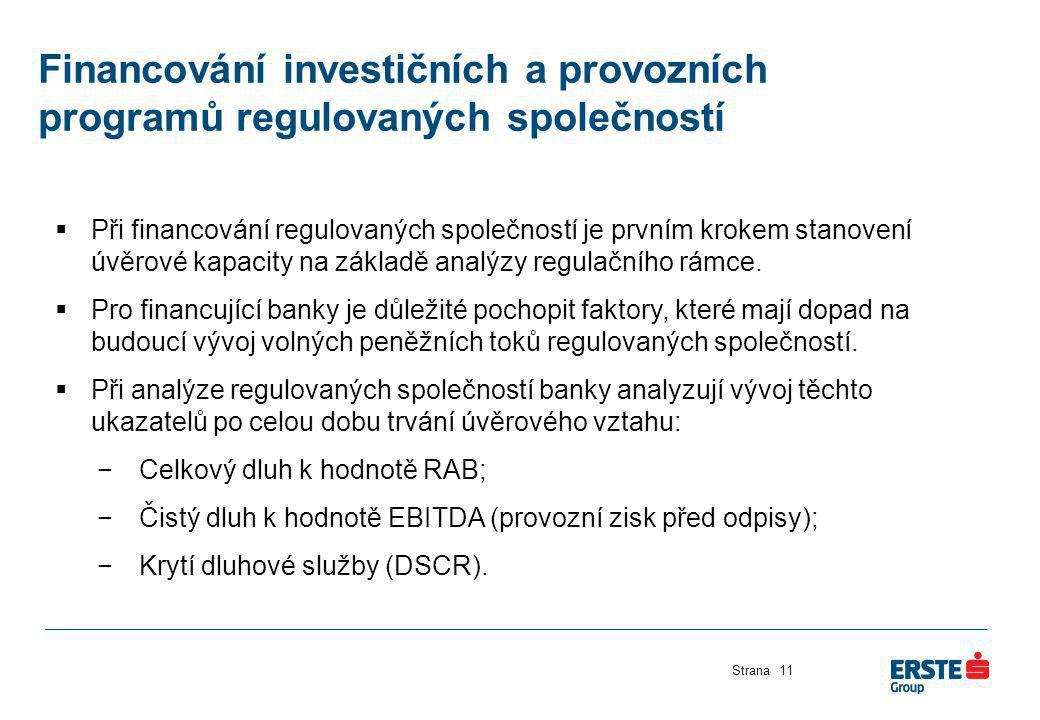 Financování investičních a provozních programů regulovaných společností Strana11  Při financování regulovaných společností je prvním krokem stanovení