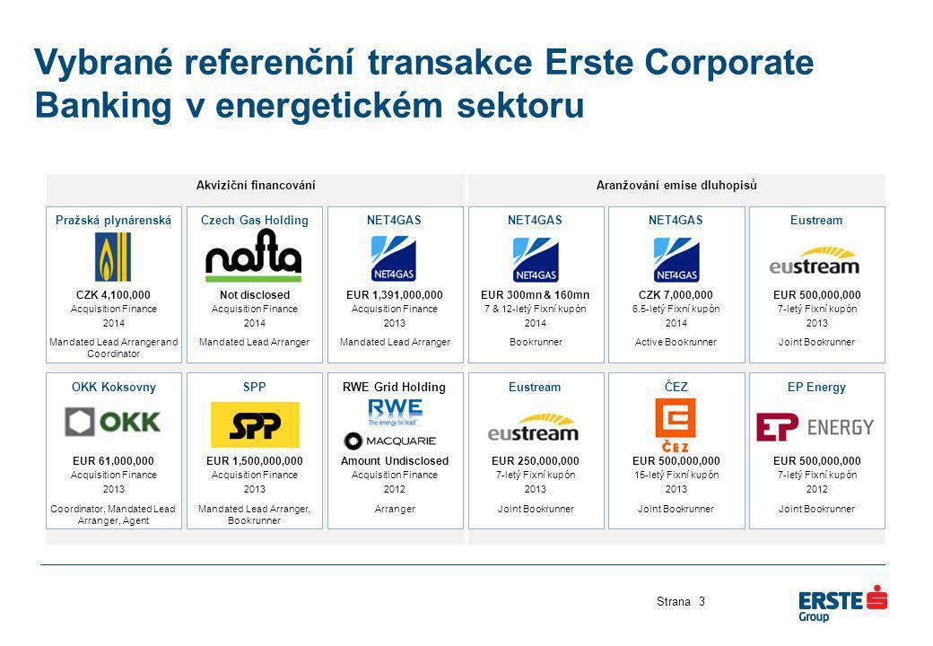 Akviziční financováníAranžování emise dluhopisů Vybrané referenční transakce Erste Corporate Banking v energetickém sektoru Strana3 OKK Koksovny EUR 6
