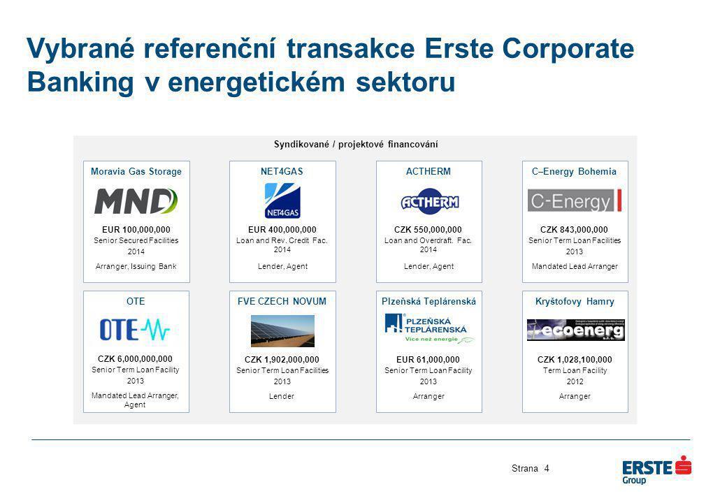 Syndikované / projektové financování Moravia Gas Storage EUR 100,000,000 Senior Secured Facilities 2014 Arranger, Issuing Bank Vybrané referenční tran