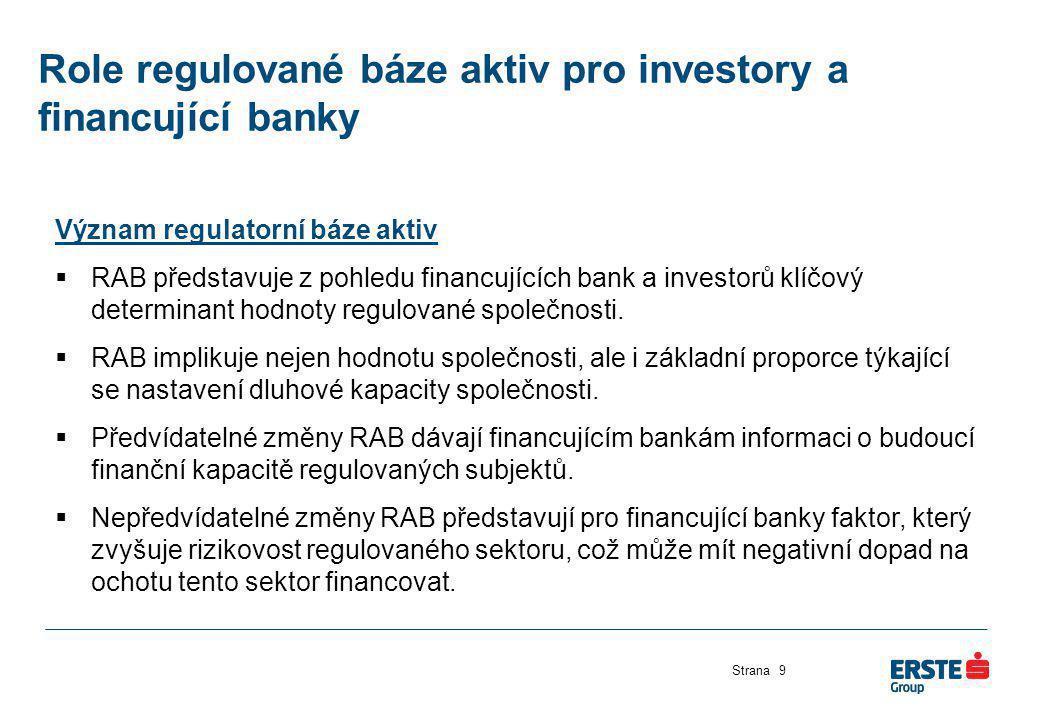 Role regulované báze aktiv pro investory a financující banky Strana9 Význam regulatorní báze aktiv  RAB představuje z pohledu financujících bank a in