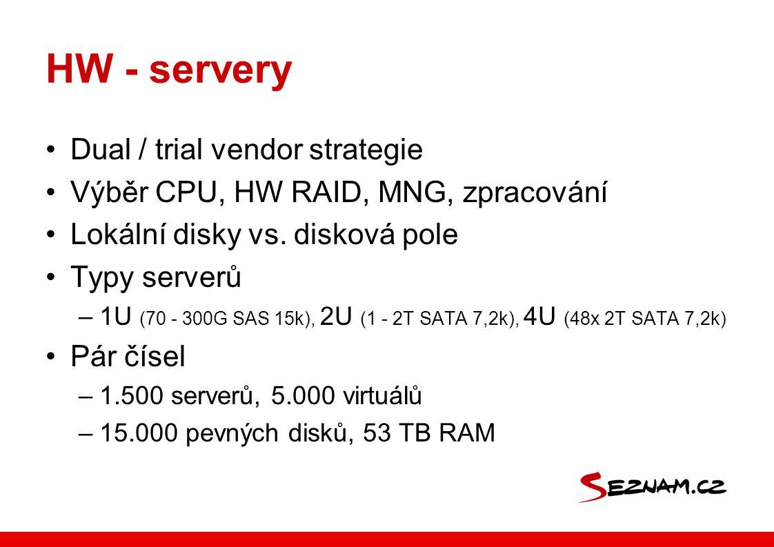 HW - servery Dual / trial vendor strategie Výběr CPU, HW RAID, MNG, zpracování Lokální disky vs. disková pole Typy serverů –1U (70 - 300G SAS 15k), 2U