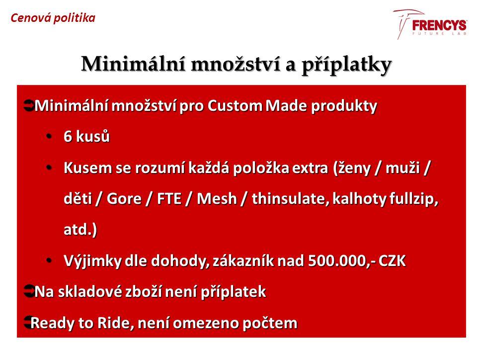 Minimální množství a příplatky  Minimální množství pro Custom Made produkty 6 kusů 6 kusů Kusem se rozumí každá položka extra (ženy / muži / děti / G