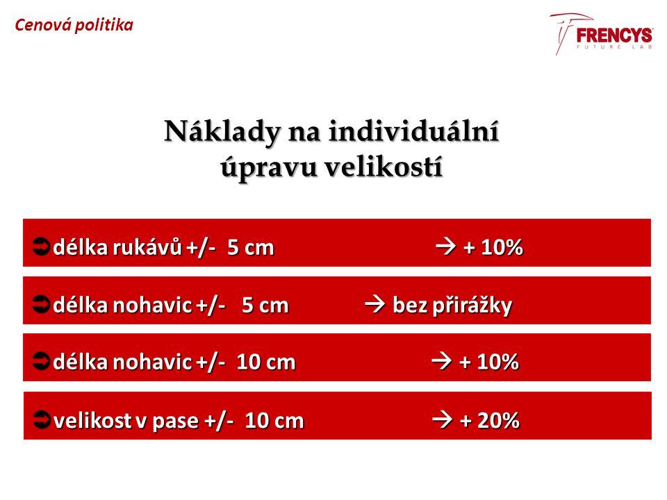Náklady na individuální úpravu velikostí  délka rukávů +/- 5 cm  + 10%  délka nohavic +/- 5 cm  bez přirážky  délka nohavic +/- 10 cm  + 10%  velikost v pase +/- 10 cm  + 20% Cenová politika