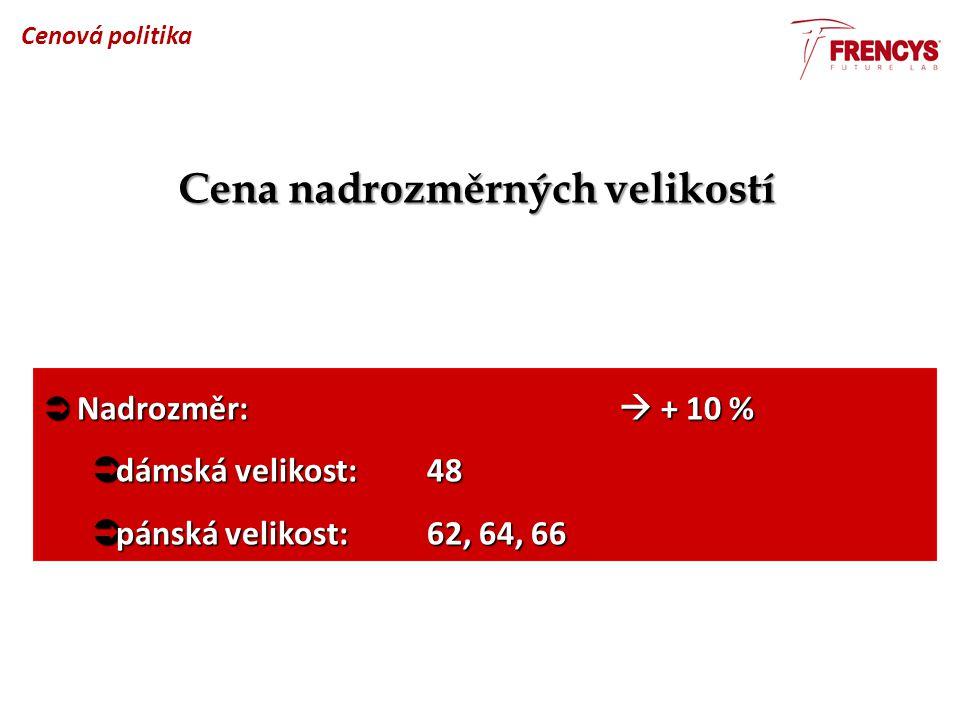 Cena nadrozměrných velikostí  Nadrozměr:  + 10 %  dámská velikost:48  pánská velikost:62, 64, 66 Cenová politika