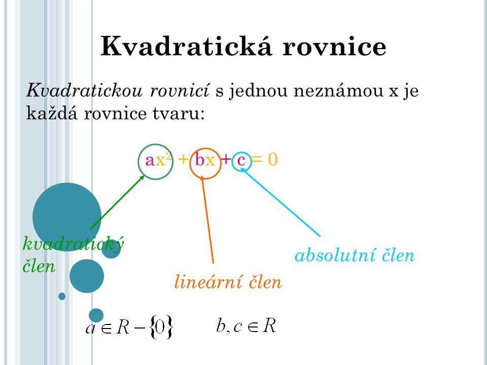 Kvadratická rovnice Kvadratickou rovnicí s jednou neznámou x je každá rovnice tvaru: ax 2 + bx + c = 0 kvadratický člen lineární člen absolutní člen