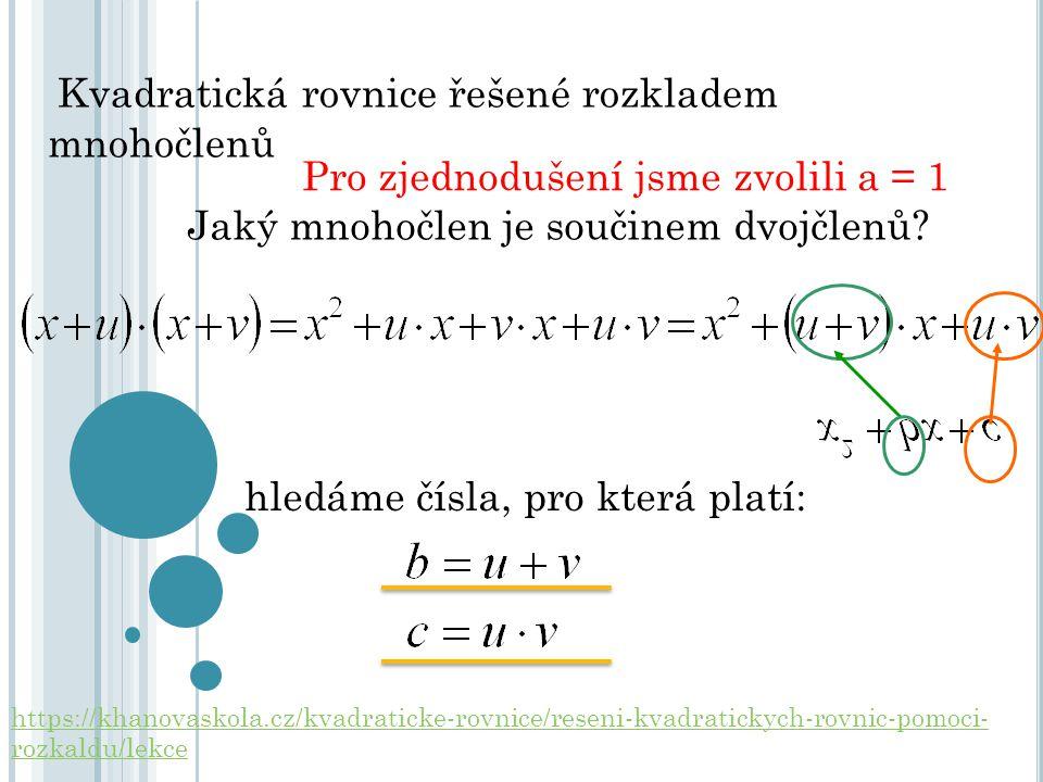 Kvadratická rovnice řešené rozkladem mnohočlenů Pro zjednodušení jsme zvolili a = 1 Jaký mnohočlen je součinem dvojčlenů? hledáme čísla, pro která pla