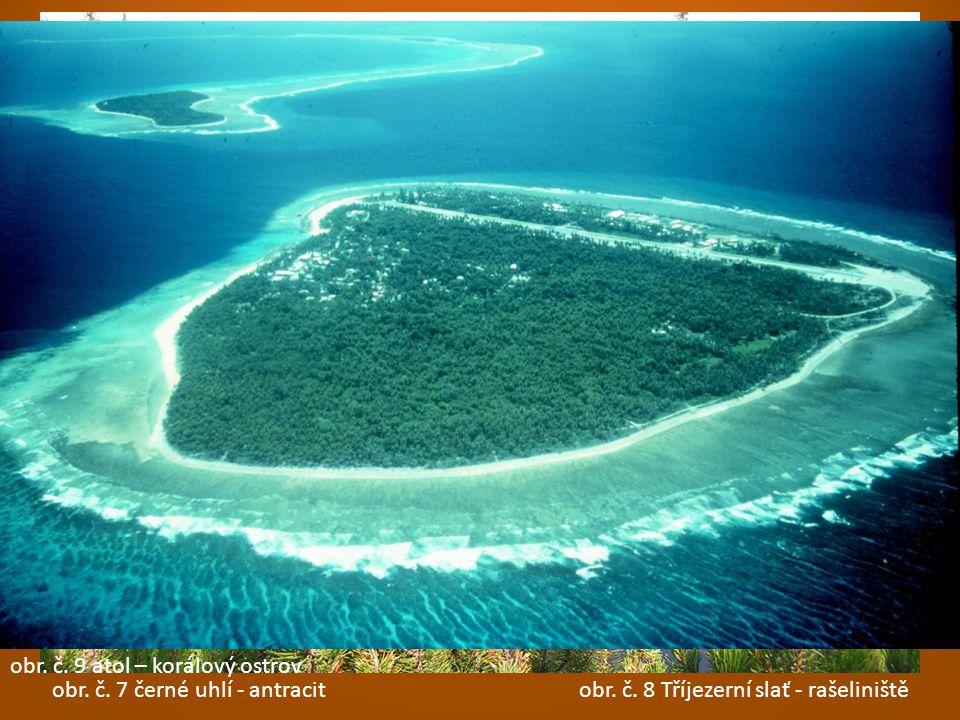 obr. č. 7 černé uhlí - antracit obr. č. 8 Tříjezerní slať - rašeliniště obr. č. 9 atol – korálový ostrov