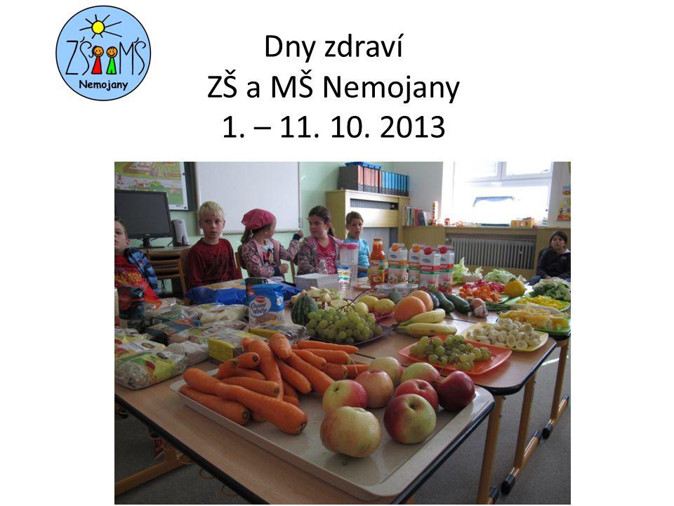 Dny zdraví ZŠ a MŠ Nemojany 1. – 11. 10. 2013
