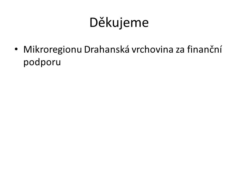 Děkujeme Mikroregionu Drahanská vrchovina za finanční podporu