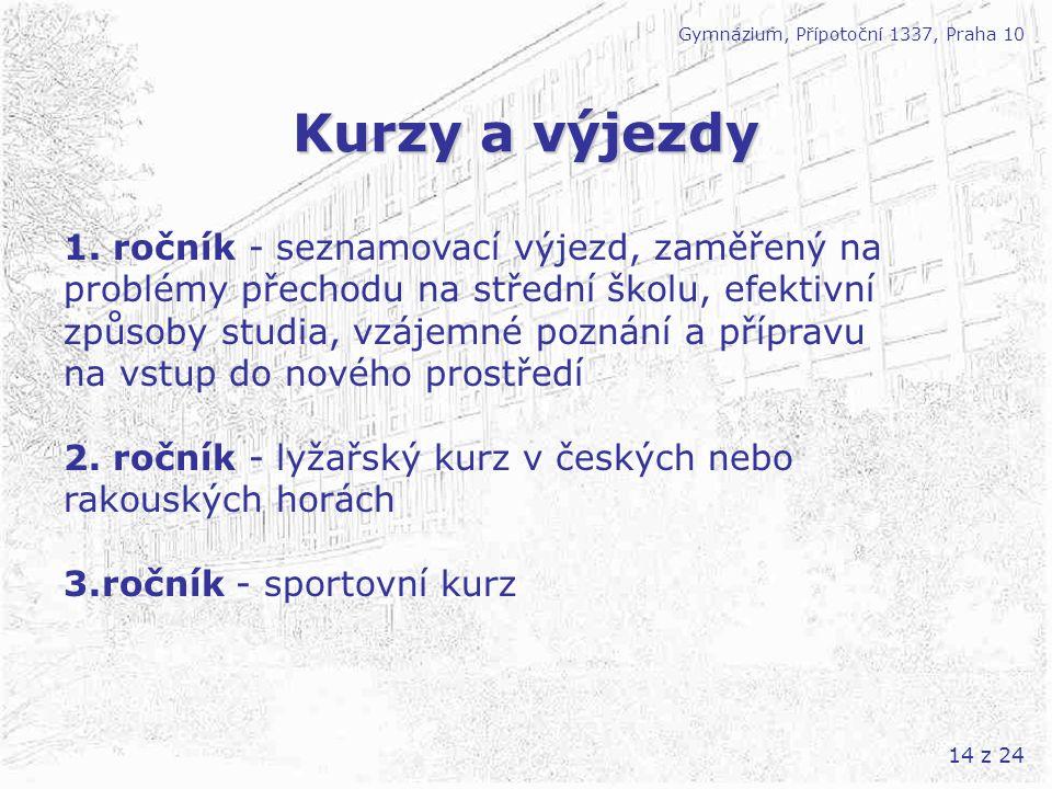 14 z 24 Kurzy a výjezdy Gymnázium, Přípotoční 1337, Praha 10 1. ročník - seznamovací výjezd, zaměřený na problémy přechodu na střední školu, efektivní