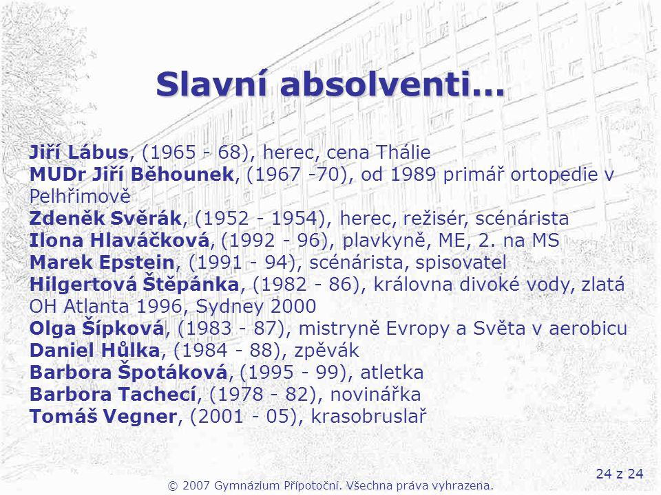 24 z 24 Slavní absolventi... © 2007 Gymnázium Přípotoční. Všechna práva vyhrazena. Jiří Lábus, (1965 - 68), herec, cena Thálie MUDr Jiří Běhounek, (19