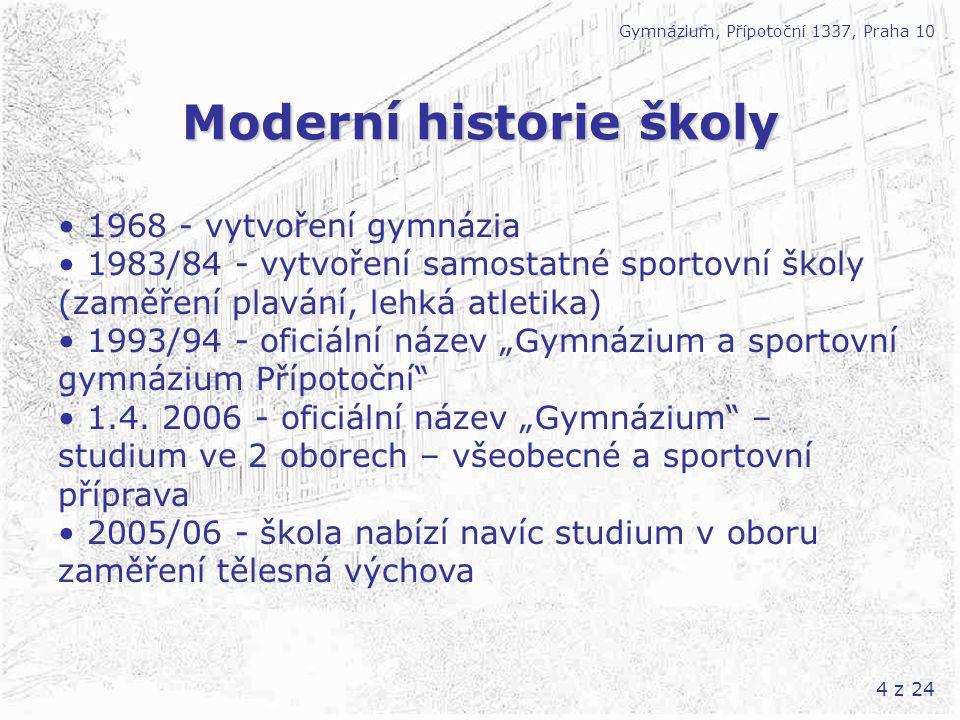 4 z 24 Moderní historie školy Gymnázium, Přípotoční 1337, Praha 10 1968 - vytvoření gymnázia 1983/84 - vytvoření samostatné sportovní školy (zaměření