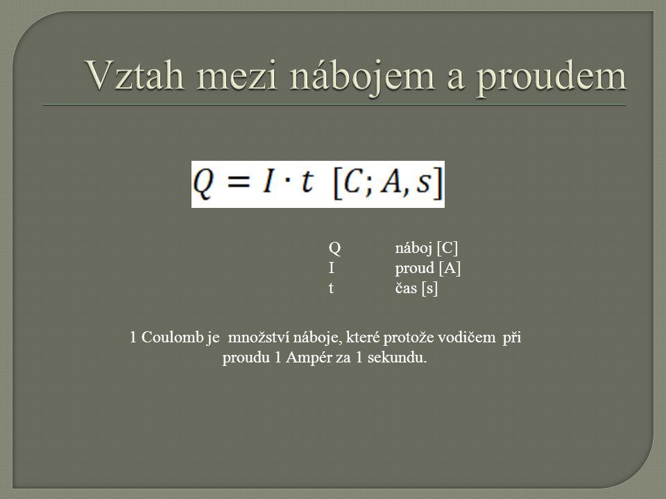 Qnáboj [C] Iproud [A] tčas [s] 1 Coulomb je množství náboje, které protože vodičem při proudu 1 Ampér za 1 sekundu.
