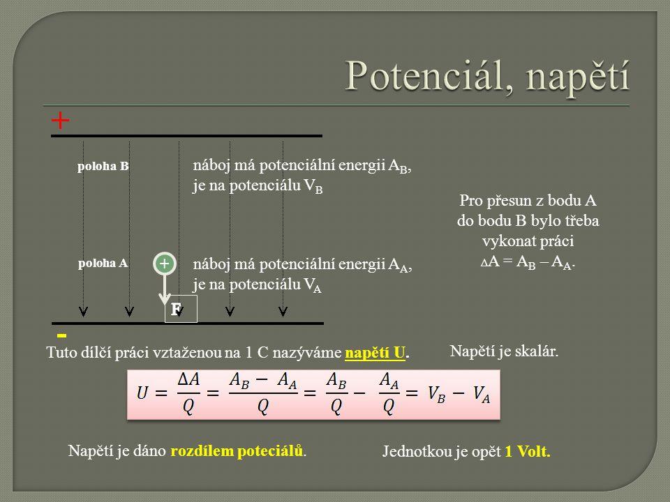 poloha A poloha B náboj má potenciální energii A B, je na potenciálu V B náboj má potenciální energii A A, je na potenciálu V A + Pro přesun z bodu A