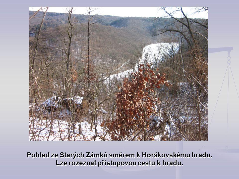 Pohled ze Starých Zámků směrem k Horákovskému hradu. Lze rozeznat přístupovou cestu k hradu.