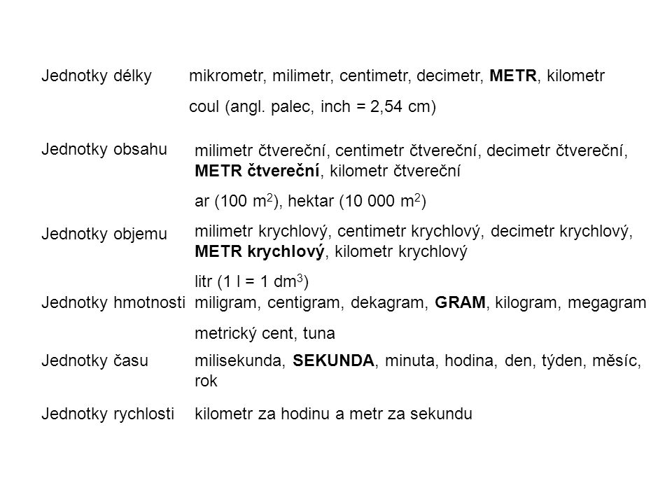 Jednotky délkymikrometr, milimetr, centimetr, decimetr, METR, kilometr coul (angl. palec, inch = 2,54 cm) Jednotky obsahu milimetr čtvereční, centimet