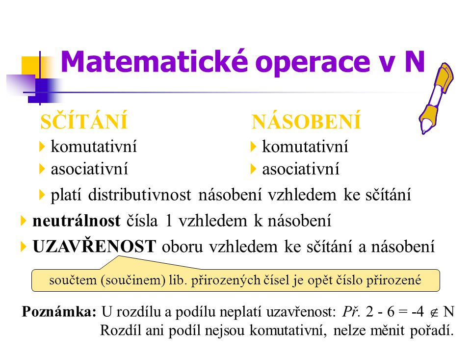 SČÍTÁNÍ  komutativní  asociativní  neutrálnost čísla 1 vzhledem k násobení Poznámka: U rozdílu a podílu neplatí uzavřenost: Př. 2 - 6 = -4  N Rozd