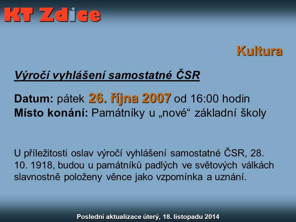 Kultura Výročí vyhlášení samostatné ČSR 26. října 2007 Datum: pátek 26.