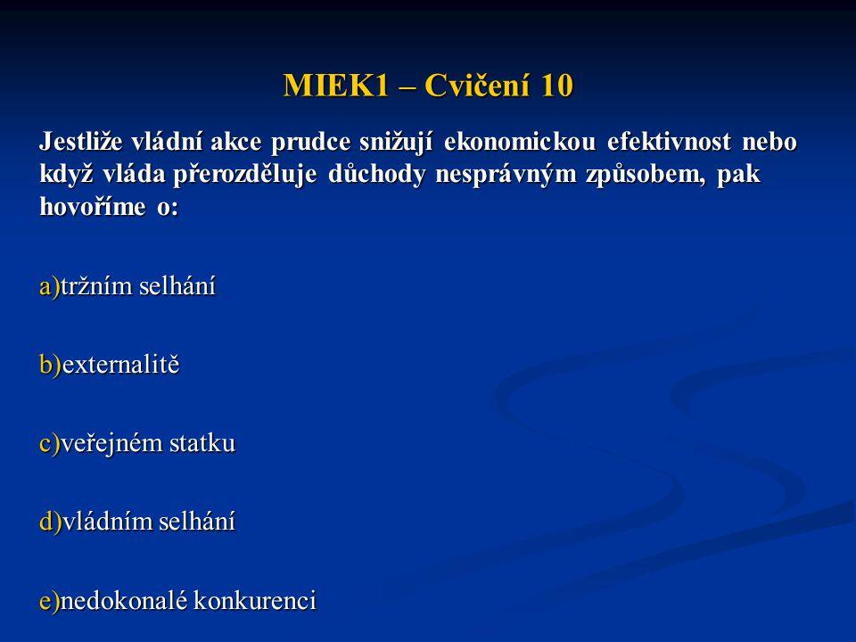 MIEK1 – Cvičení 10 Jestliže vládní akce prudce snižují ekonomickou efektivnost nebo když vláda přerozděluje důchody nesprávným způsobem, pak hovoříme