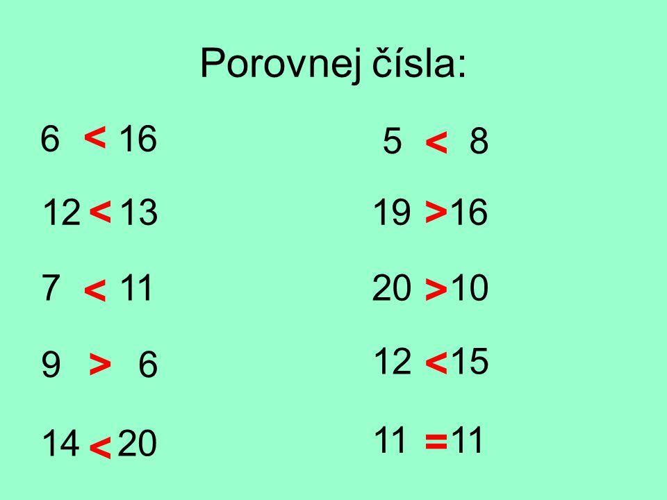 Porovnej čísla: 6 16 12 13 7 11 9 6 14 20 5 8 19 16 20 10 12 15 11 = < < < < < < > > >
