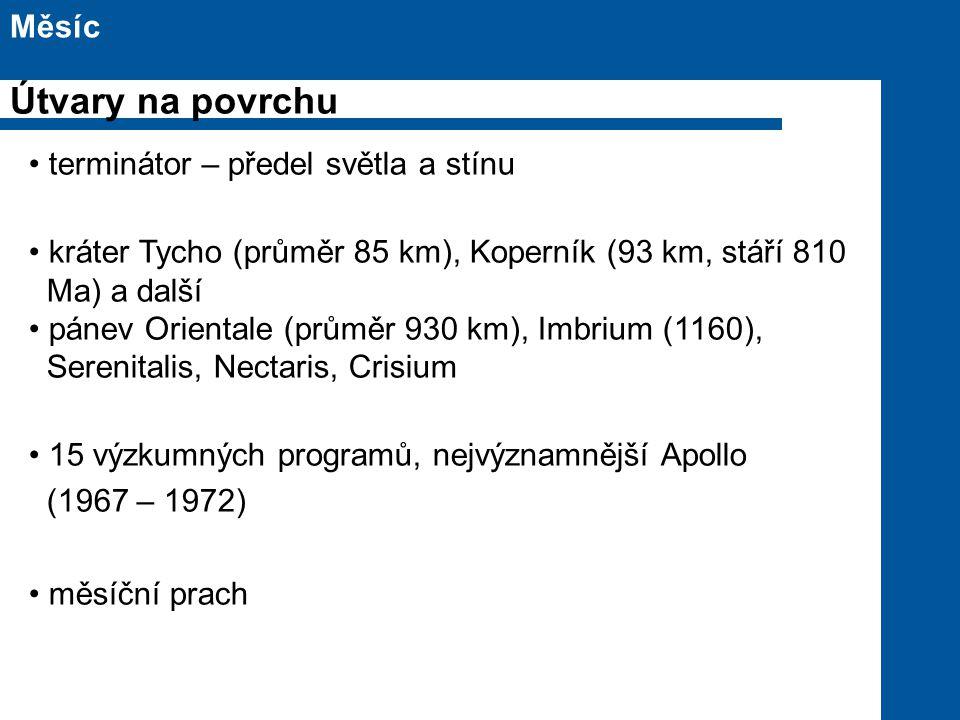 terminátor – předel světla a stínu kráter Tycho (průměr 85 km), Koperník (93 km, stáří 810 Ma) a další pánev Orientale (průměr 930 km), Imbrium (1160), Serenitalis, Nectaris, Crisium 15 výzkumných programů, nejvýznamnější Apollo (1967 – 1972) měsíční prach Měsíc Útvary na povrchu